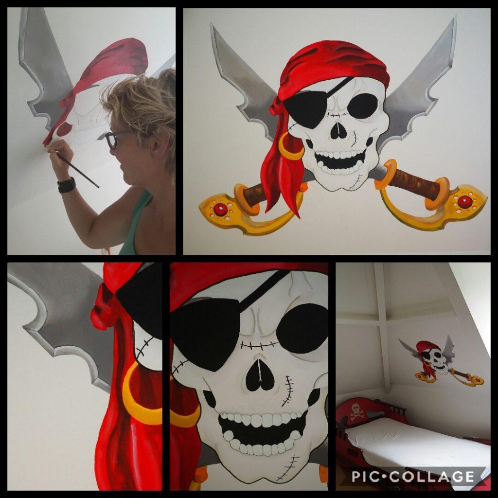 Muurschildering Piratenkamer